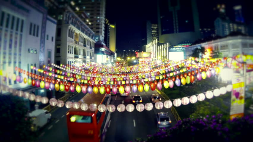 Singapore, Chinatown, September 2013. Time lapse of colorful chinese lanterns above the road. Zoom out. | Shutterstock HD Video #5487512