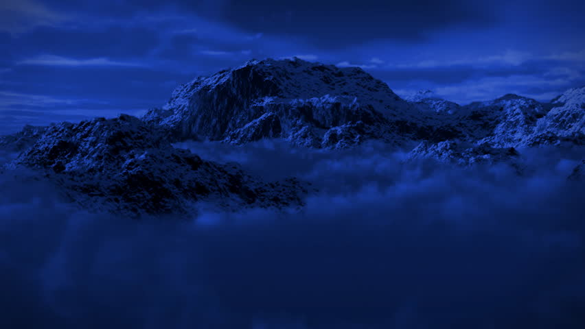 (1125) Snowy Mountain Wilderness Moonlight Night Snow Storm great for themes of wilderness, exploration, adventure, leadership, weather, nature, climbing and outdoor sports, seasonal winter activities