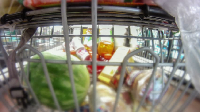 Shopping cart point of view down the aisles as the cart gets filled through checkout and to parking lot  time lapse   Shutterstock HD Video #5512730