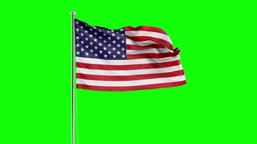American Flag Fluttering. Green screen