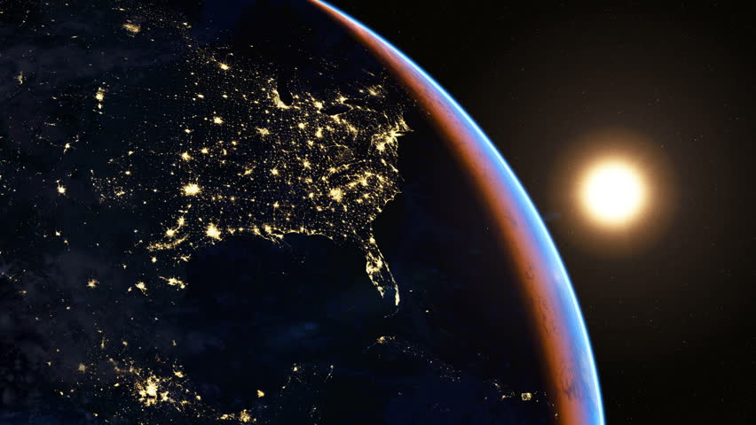North America at night. Extremely detailed image, including elements furnished by NASA. 3d animation with some light sources, reflections and post-processing. Earth maps courtesy of NASA