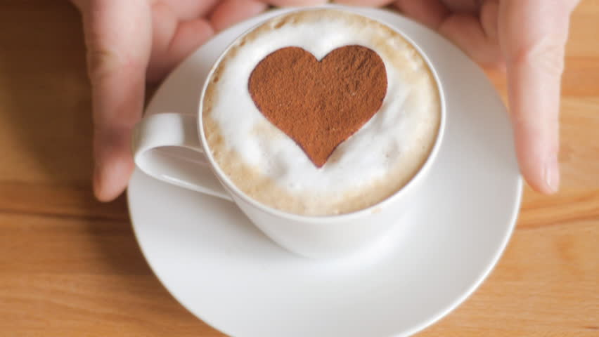 Valentine's cappuccino with heart in chocolate