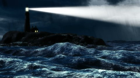 Lighthouse projecting a beam of light into vast darkness of stormy ocean