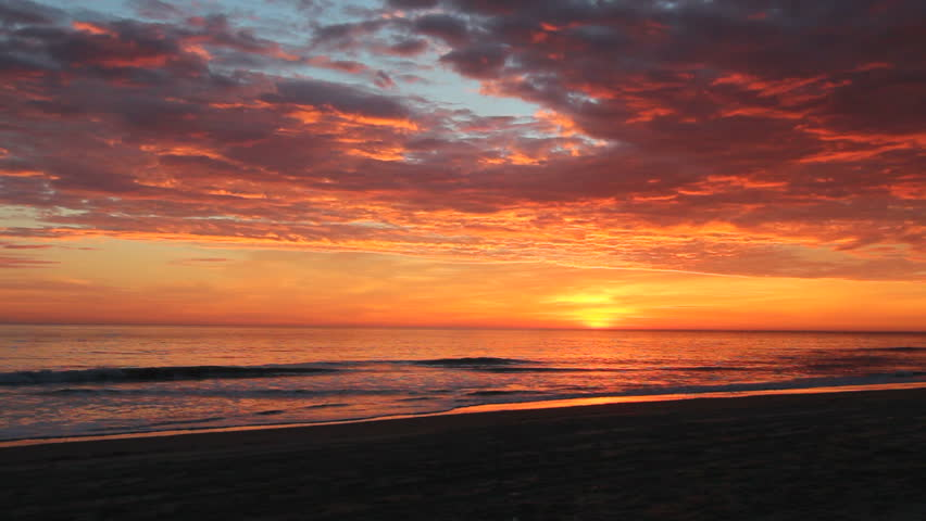Dramatic Orange Sunrise Over The Beach At Nags Head On Outer Banks Of North Carolina