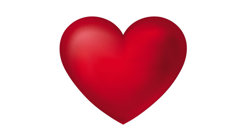 Love Heart Thumping Beating On White Background. Animation