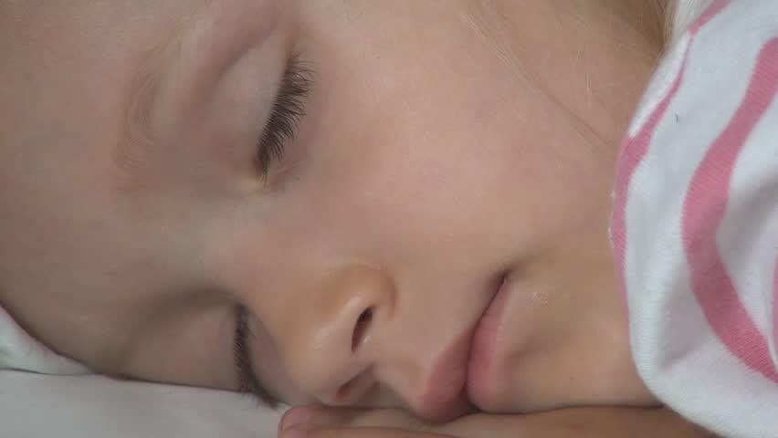 Sleeping Child, Tired Sleepy Little Girl Face Dreaming, Children Nap in Bedroom