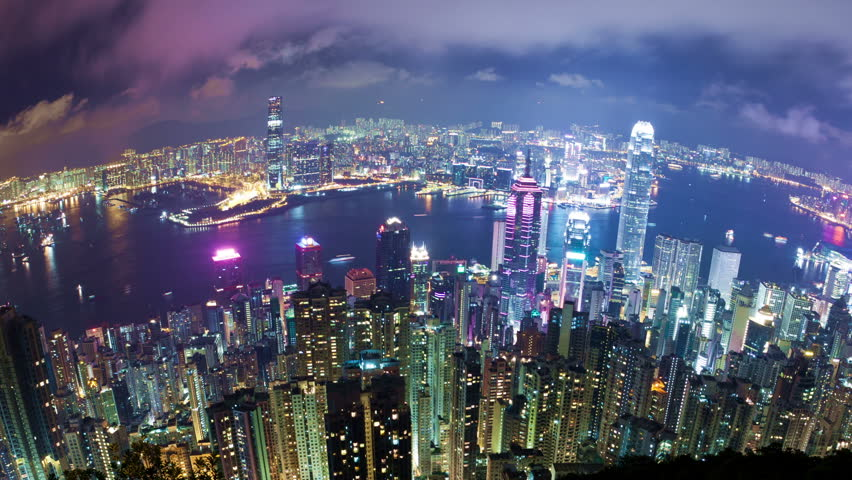 Timelapse video of city at night, camera revolving
