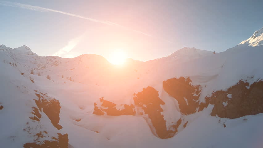 winter snow landscape. aerial view fly over. sunset dusk. snow mountains. tourism resort nature #5593976