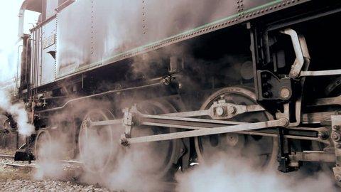 steam engine. old locomotive. nostalgic technology. transit rail road. steel wheel gear. smoke puffing funnel. travel tourism attraction. 1920x1080