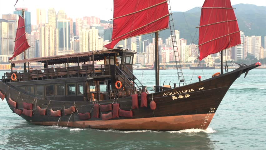 Junk ship in front of Hong Kong skyline close up