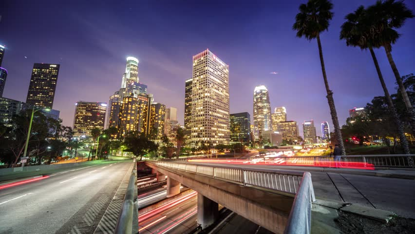 Downtown Los Angeles city traffic at night. 4K Timelapse.