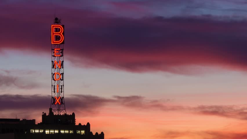 LOS ANGELES - FEBRUARY 11, 2014: Historic Bendix tower. The Bendix tower is a neon sign built by Bendix Aviation Corporation to aid in nighttime aviation. | Shutterstock HD Video #5630792