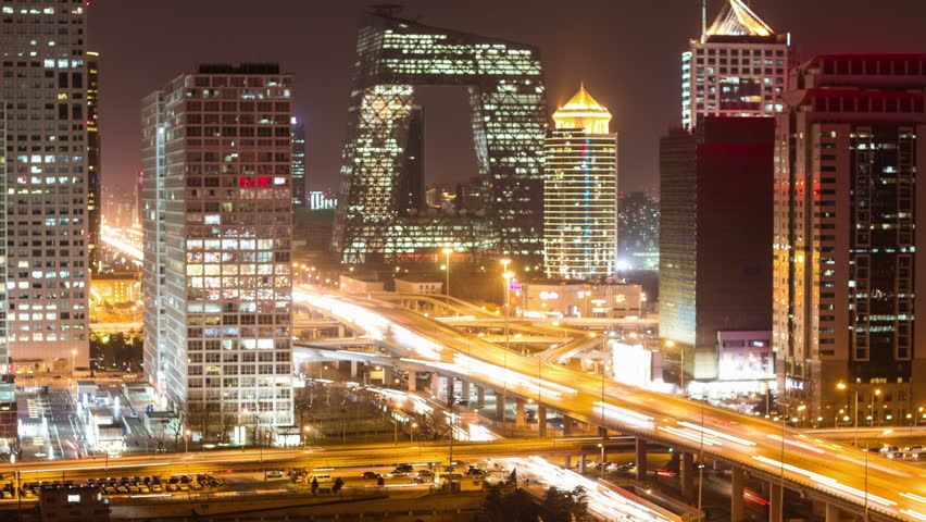 Beijing Central Business District night scene time lapse | Shutterstock HD Video #5637422