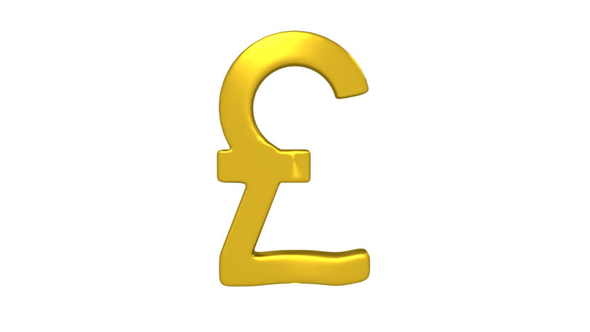 Rotating Pound Symbol Gold Color Wobbling From Side To As It Rotates Symbolising Inility Loopable Embedded Alpha Channel