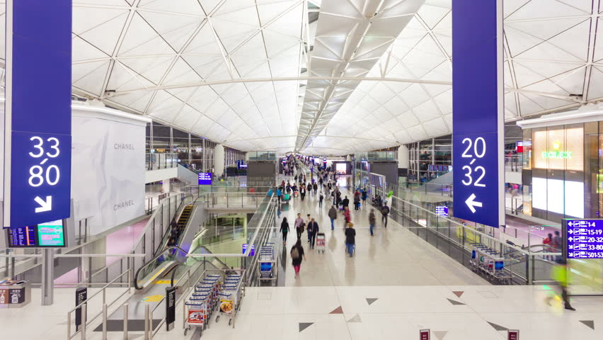 Hong Kong, China - November 29: 4k hyperlapse video of commuters in the Hong Kong International Airport on November 29, 2013.The Hong Kong International Airport is one of the busiest airports in Asia.