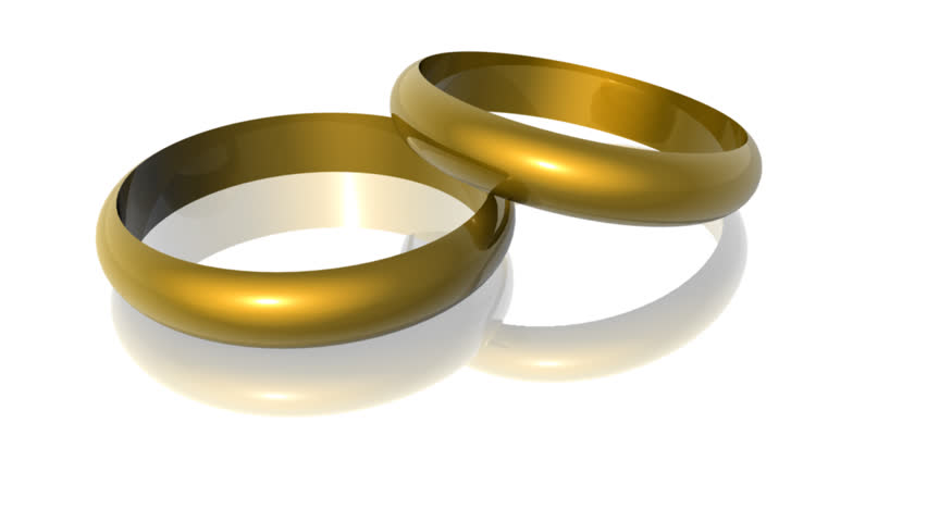 Two Wedding Rings Isolated On White Rotating Stock Footage Video 566002