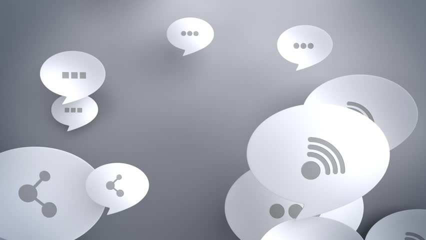 Speech bubbles floating from bottom to top with social networking icons. Includes mask