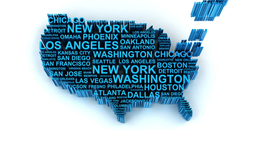 3d Animation Of Us Map Formed By Names Of Major Cities Stock Footage Video 5691302 Shutterstock