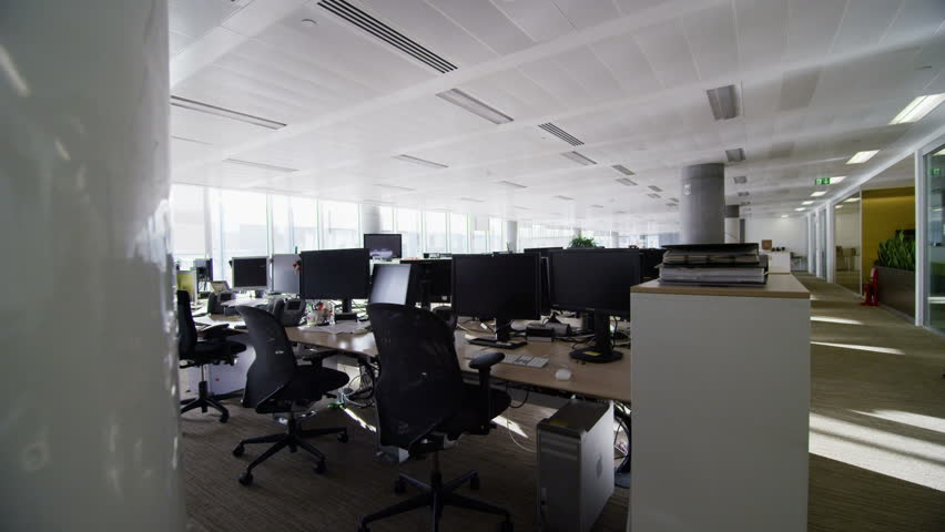 Interior View Of Empty Office Work Stations In A Large Contemporary City Building No