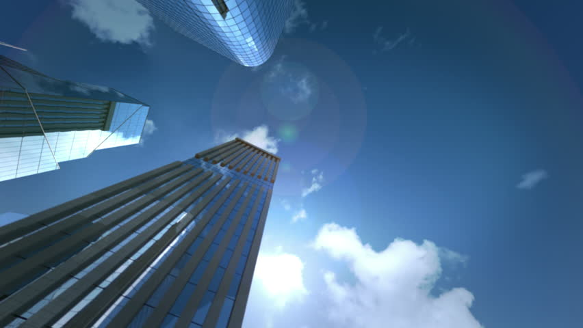 Flying through skyscraper district, blue sky in reflection | Shutterstock HD Video #5701712