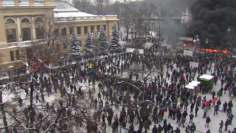 KIEV, UKRAINE - JANUARY 21, 2014: Protesters attacked police during clashes on the street Grushevskogo.