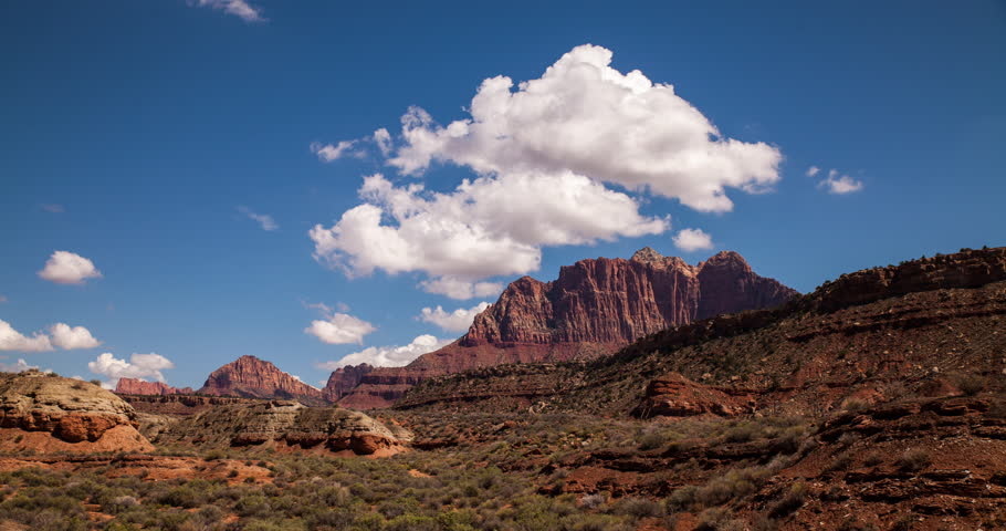 USA 2013 - Time lapse showing clouds billowing over rocky mountains in Zion National Park. Landscape In 4K Ultra HD