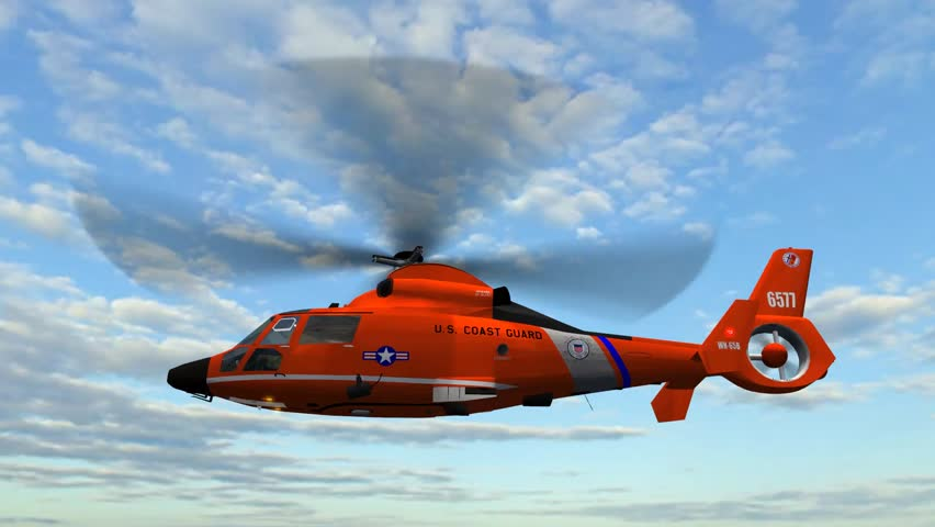 Helicopter U.S. Coast Guard Eurocopter in fly