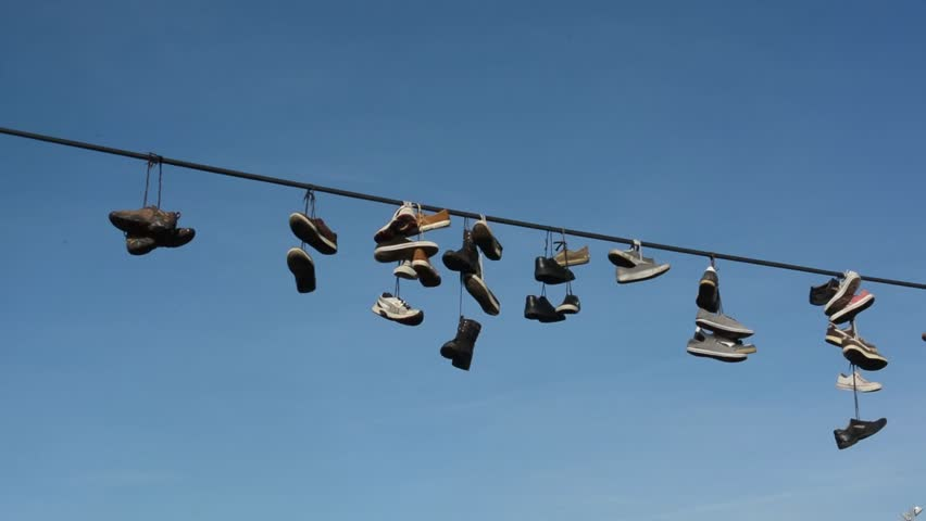 Shoes On A Wire   Power Line Sneakers Free Stock Video Footage Download Clips Random