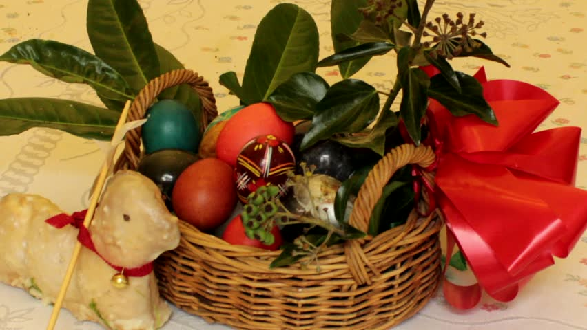 Elderly woman pulls out easter eggs from the basket stock footage static film shot of easter basket hd stock video clip negle Gallery
