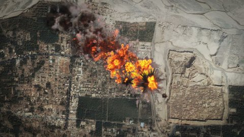 Carpet bombing raid on foreign targets, Iraq, Afghanistan, cluster bombs. Massive aerial bombardment, bunker busters.