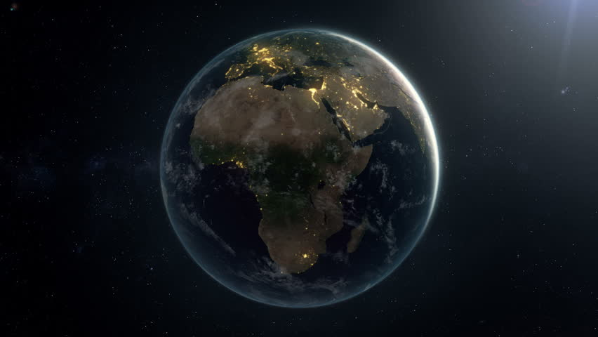 Seamless looping earth by night.A matte is added in the end so the animation can be placed over your own background. Check out a 4k still here: http://www.lucidpixel.nl/img/Stills/EarthLoopNight4K.jpg