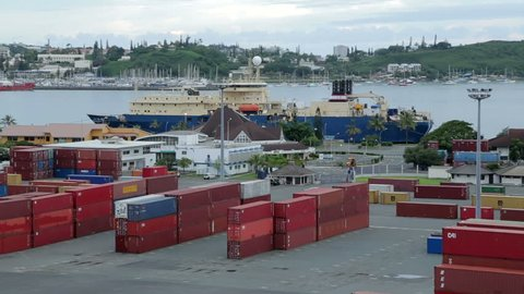 NOUMEA, GRANDE TERRE/NEW CALEDONIA - FEBRUARY 06, 2014: Tracking clip of Noumea container port and harbour. Noumea is the main port for New Caledonia.