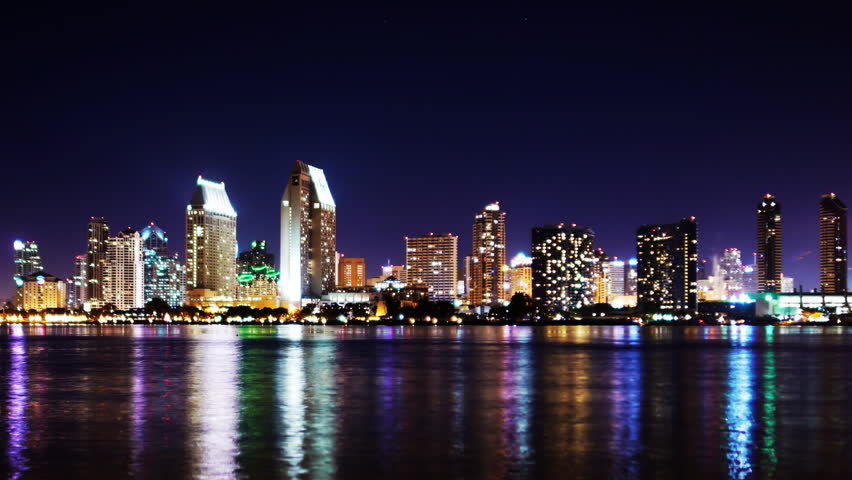 San Diego City Lights Footage Stock Clips