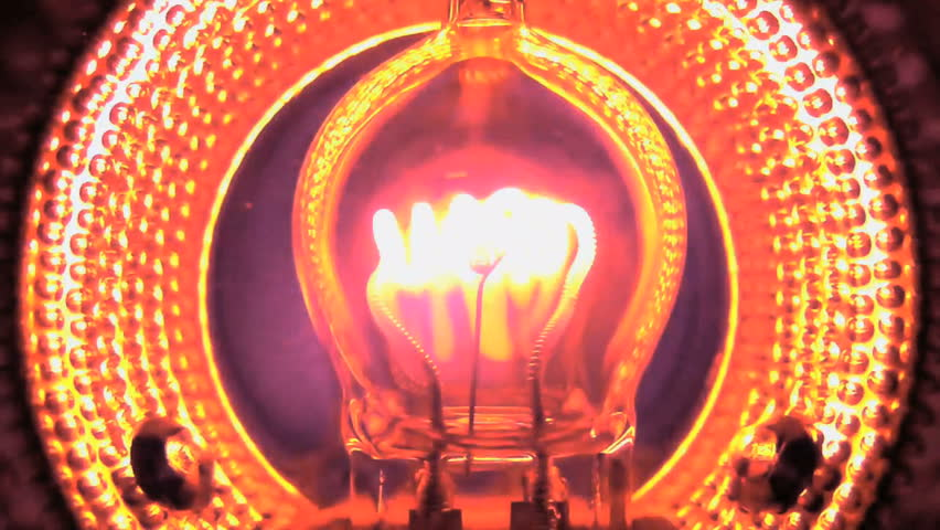 Light bulb turning on and off, 120fps in camera slow motion closeup