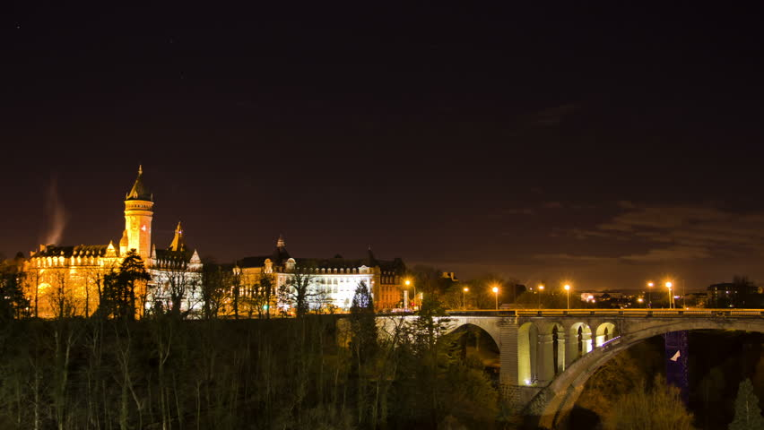 City view of old town Luxembourg. Time Lapse.