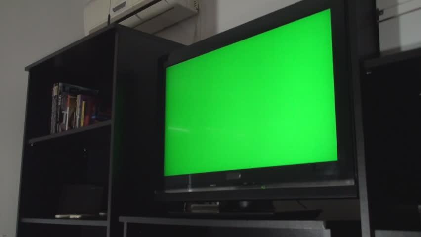 Green Screen Tv In A Living Room Still Side Shot