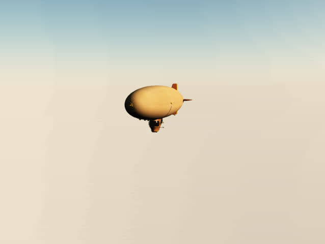 Zeppelin fly by. Clear blue graduate sky/background. Blimp flys from the sun past the camera and away to form a silhouette in the end. Easy edit and text drop in. Animation