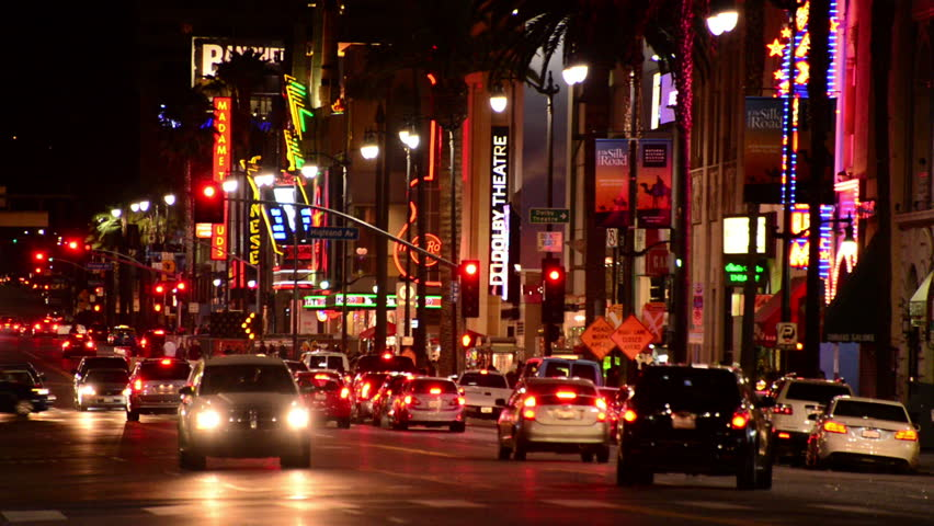Famous Hollywood Blvd at Night - Circa Jan 2014