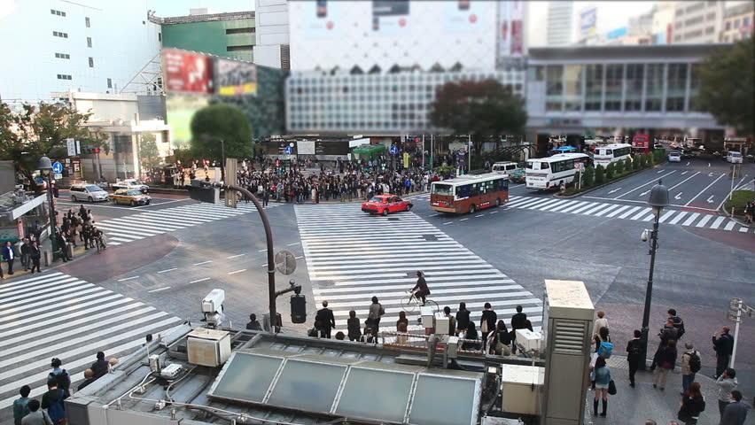 People walking the Shibuya crossing, Tokyo, Japan