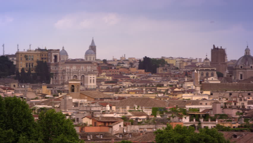 Rome skyline featuring St Peters basilica, Hotel Piazza Venezia and others