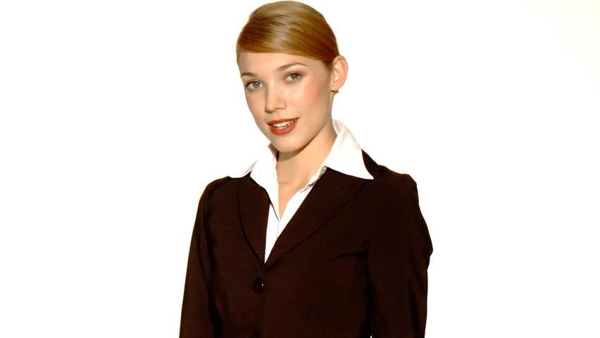 Beautiful young businesswoman showing thumb down    Shutterstock HD Video #586006