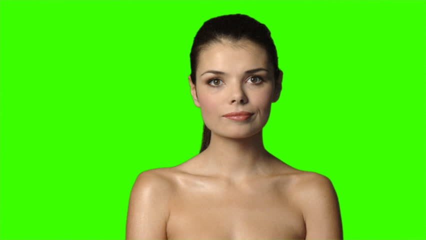 Sexy woman on green screen is showing thumb down gesture  | Shutterstock HD Video #586042