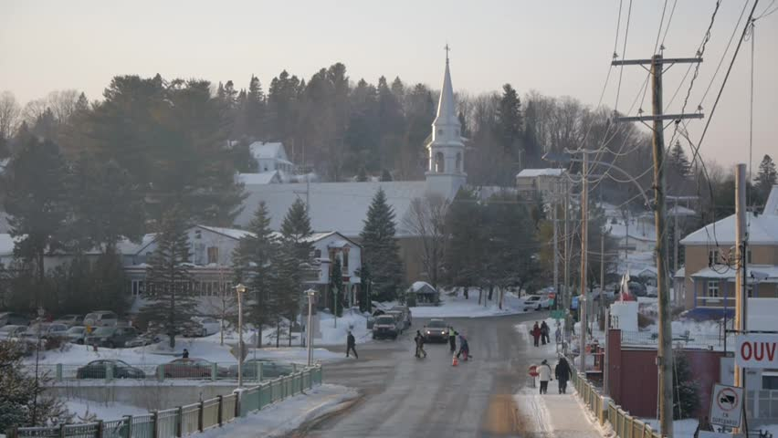 Typical Canadian village during winter.