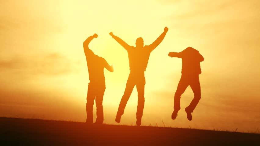 Team Victory Teamwork Guys Jumping Joy Congratulations Silhouette Stock Footage Video 5886584 ...