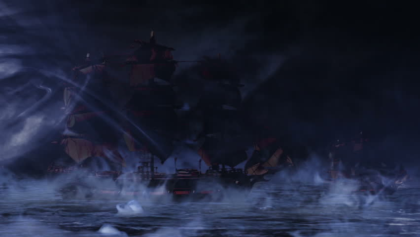 Three Pirate/Colonial Sailboat Fighting at Night