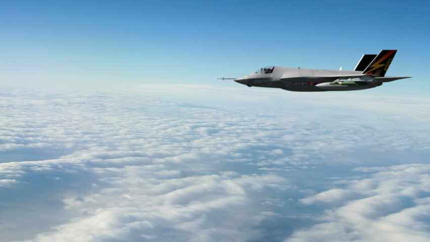 A F-35 Lightning stealth multirole fighter (CGI) flying above the clouds. Highly detailed and qualtiy 3d animation.