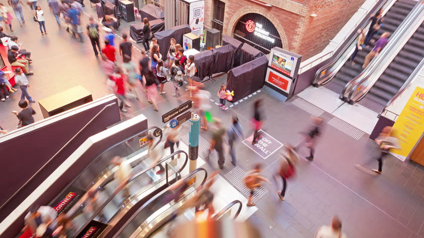 Melbourne, Australia - Feb 10: 4k timelapse video of people travelling on the escalators in a shopping mall in Melbourne Central station on February 10, 2013.