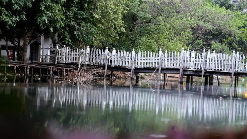 Little white bridge over a small river in a green park