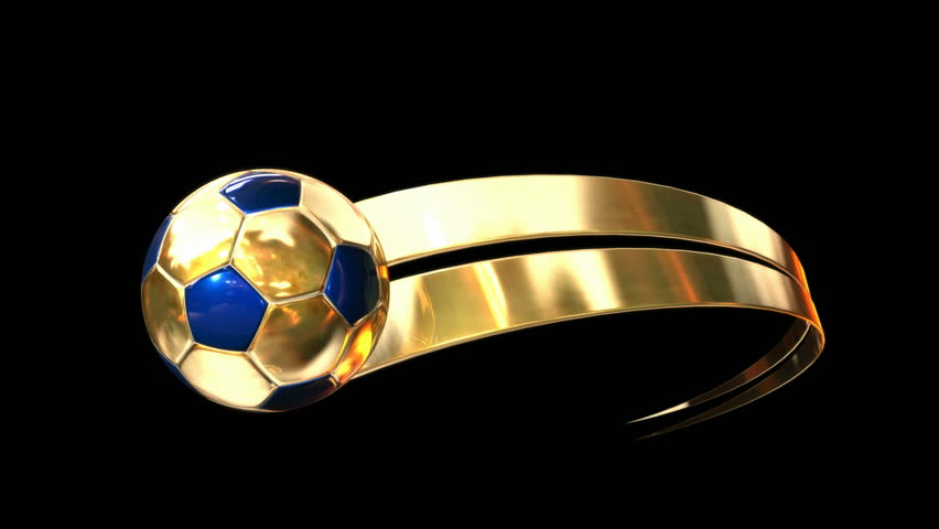 A gold and blue soccer ball swooshing into screen being trailed by a gold ribbon swoosh on an isolated dark background