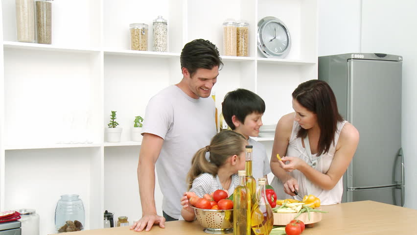 Family At Home In Kitchen Preparing Lunch And Having A Good Time Stock  Footage Video 596272 | Shutterstock